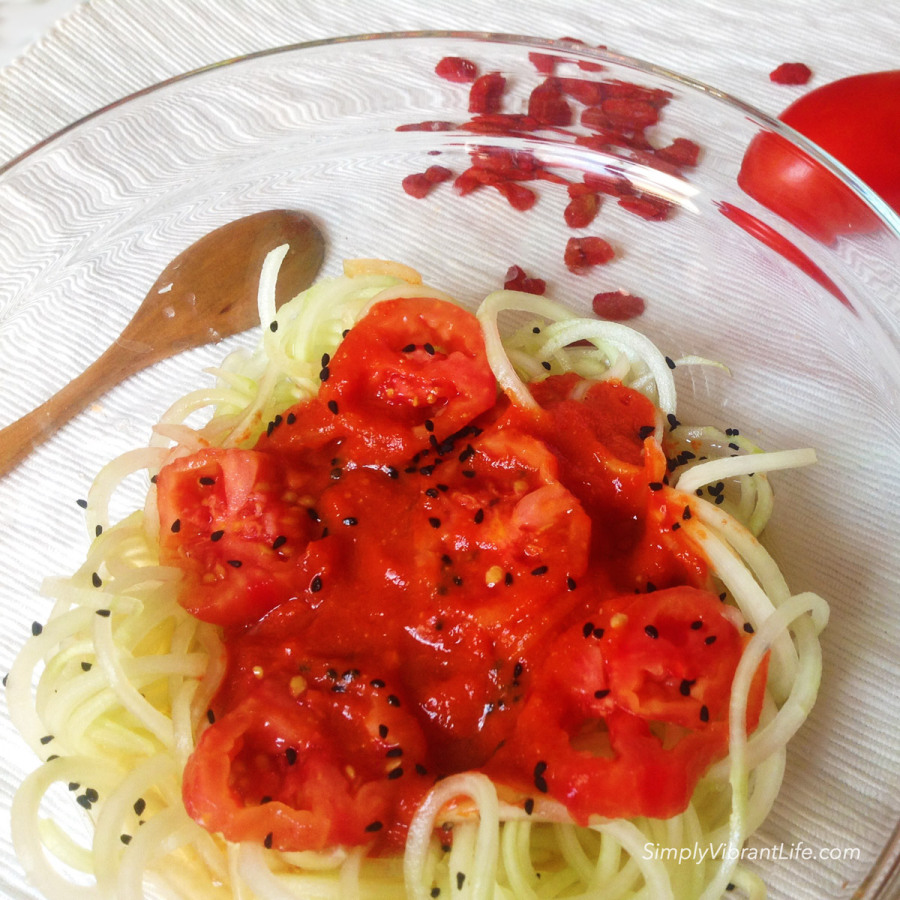 Cucumber noodles with raw vegan ketchup
